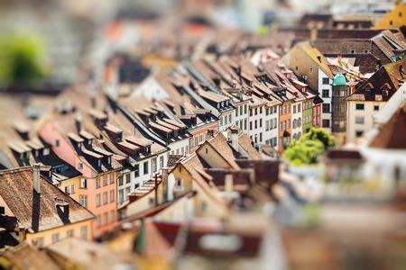 Rooftops of Schaffhausen a town in Switzerland. Miniature tilt shift lens effect.