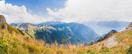 Panoramic view of Alps from the Rochers de Naye,  Switzerland Stock Photo - 83717653