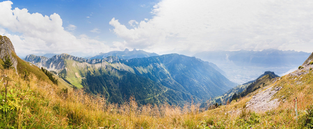 Panoramic view of Alps from the Rochers de Naye,  Switzerland