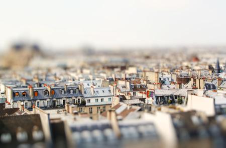 Miniature tilt shift lens effect of architecture of Paris, France. Traditional buildings. Stock Photo