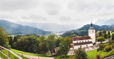 Panoramic view of Gruyeres and church. Switzerland Stock Photo