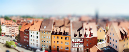 Panoramic cityscape of Nuremberg, Bavaria,  Germany. Miniature tilt shift lens effect. Archivio Fotografico