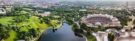 Panoramic view at Stadium of the Olympiapark in Munich,  Germany Stock Photo - 83717664