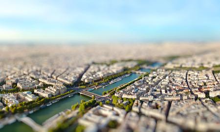 Panoramic view of Paris, France. Miniature tilt shift lens effect.
