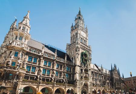Panoramic view of Marienplatz town hall of Munich,  Germany Stock Photo