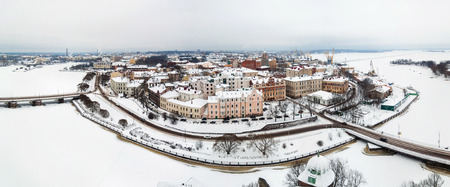 Panoramic view of old city in winter. Vyborg, Russia
