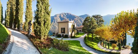 Panorama of the park of Villa Balbianello in Lenno, Lake Como, Italy