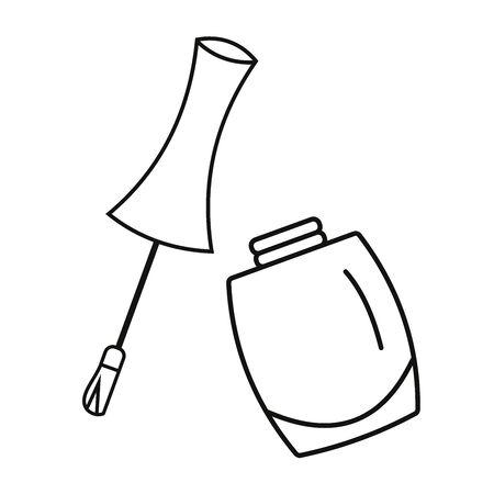 Nagellackflaschenillustrationsikone mit geöffneter Kappe, in Schwarzweiss. Vektorgrafik