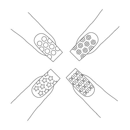 Fingernails with a pattern designs. Last phalanx of multiple index fingers, showing a long nails with a designs that includes stars, circles, flowers and head bows..