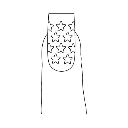 Fingernail with a pattern design. Last phalanx of a finger, showing a long nail with a design that includes stars.
