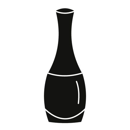 Black nail polish bottle vector illustration icon.