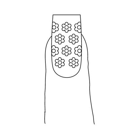 Fingernail with a pattern design. Last phalanx of a finger, showing a long nail with a design that includes flowers.