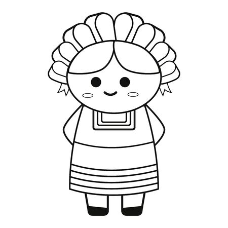 Mexican rag doll smiling. Vector illustration in black and white.