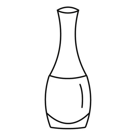 Nail polish bottle vector illustration icon, in black and white.