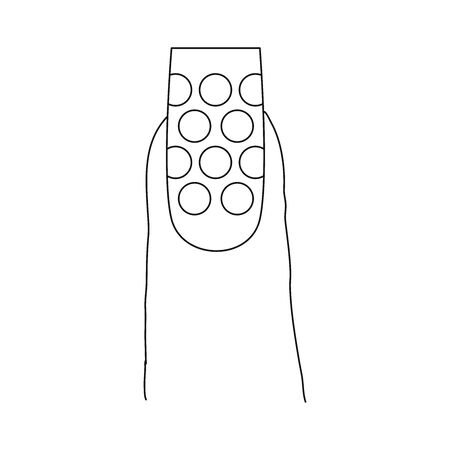 Fingernail with a pattern design. Last phalanx of a finger, showing a long nail with a design that includes circles.