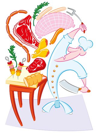 meats: crazy cook with meats Illustration