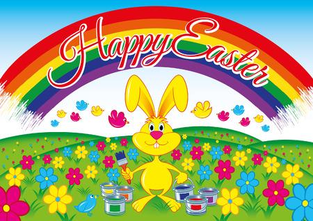 Happy easter rabbit Vettoriali