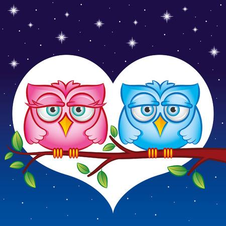 Owls in love Vettoriali