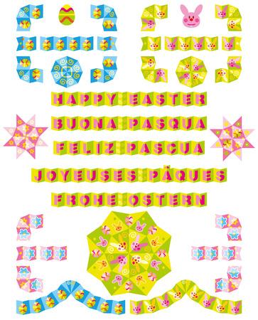 Origami borders Easter Vettoriali