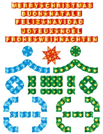 Origami borders Christmas Vettoriali