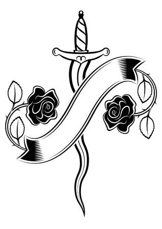 短剣とタトゥー スタイルのバラ  イラスト・ベクター素材
