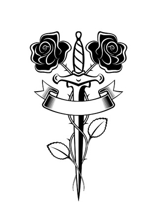 Dagger and roses in tattoo style