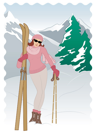 annata sciatore Vettoriali