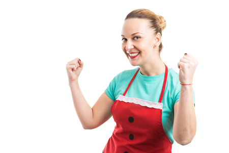 Happy cheerfull maid or housekeeper acting successful accomplished isolated on white background