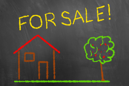 House for sale colorful chalk drawing on chalkboard or blackboard as real estate cozy new home living residence concept