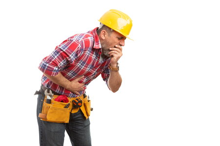 Nauseous constructor feeling sick to the stomach making ready to throw up gesture isolated on white Stockfoto