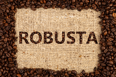 Robusta coffee type spelled inside frame made out of scattered beans on brown textured background