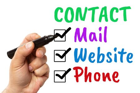 Man checking phone mail and website contact methods with black marker written in colourful text isolated on white background Stock Photo