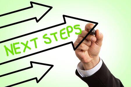 Closeup of businessman writing next steps green text inside black arrow on green transparent display background