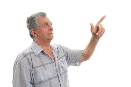Old man with gray hair presenting by making pointing gesture isolated on white background