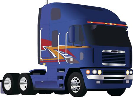 big blue powerful truck Illustration