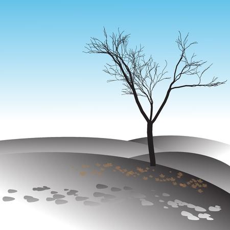 lonely tree: Vector illustration of tree in winter Illustration