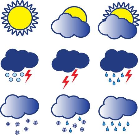 rainy sky: iconos del tiempo Vectores