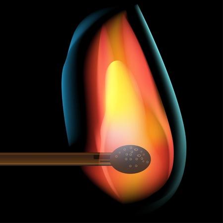 lighter: burning match Illustration