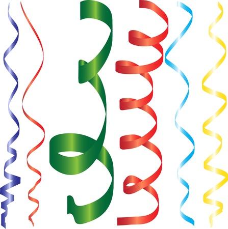parade confetti: gradiente rizar cintas o serpentinas del partido para el dise�o