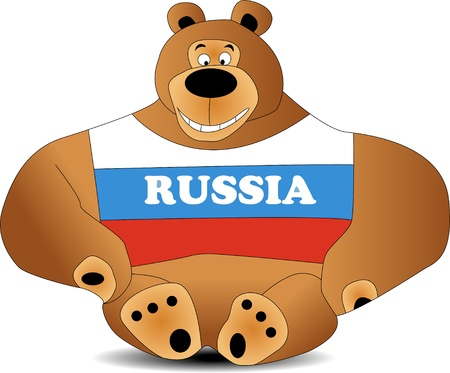 bandera rusia: osito de peluche Vectores
