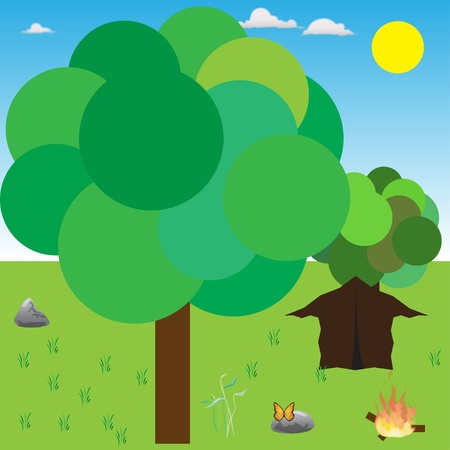 abstract camping and tree Vector