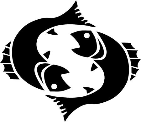흰색에 고립 된 검은 물고기