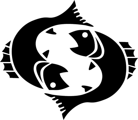 Black pisces isolated on white Vector