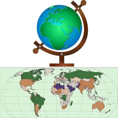 School globe, world map Vector