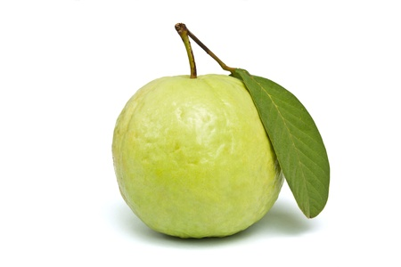 Fresh green guava isolated on white background.