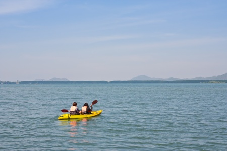 Kayaking near mangrove forest photo