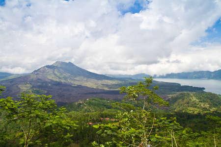 Active volcano on the Bali island photo