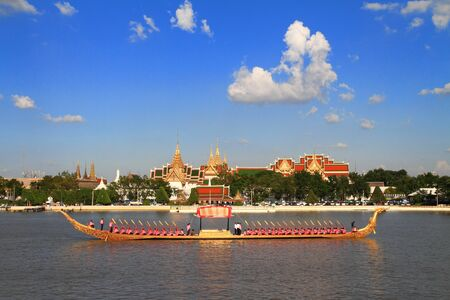 procession: Royal Barge Suphannahongse,wat phra kaew,bangkok Thailand Editorial