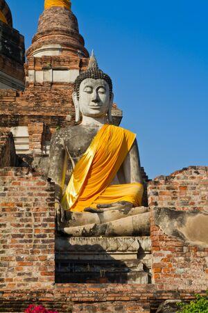 buddhist structures: Ancient buddha statue in Ayutthaya province, thailand