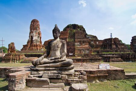 Ancient pagoda and buddha statue in Wat Mahathat, Ayutthaya province,Thailand photo